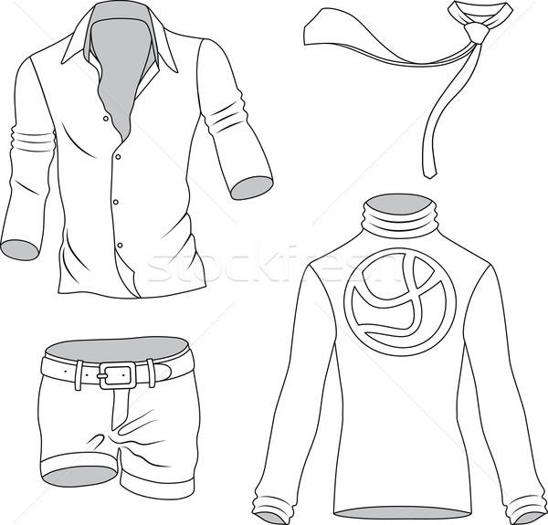 Man clothes outlined collection isolated on background  Stock photo © arlatis