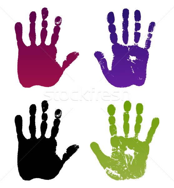 Old man four hand prints Stock photo © arlatis
