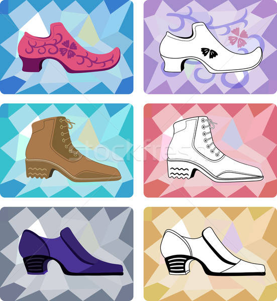 Six stylish man shoes isolated on faceted background Stock photo © arlatis