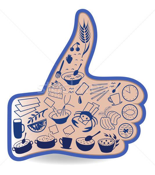 Essen wie soziale Netzwerke Daumen up Handzeichen Stock foto © arlatis