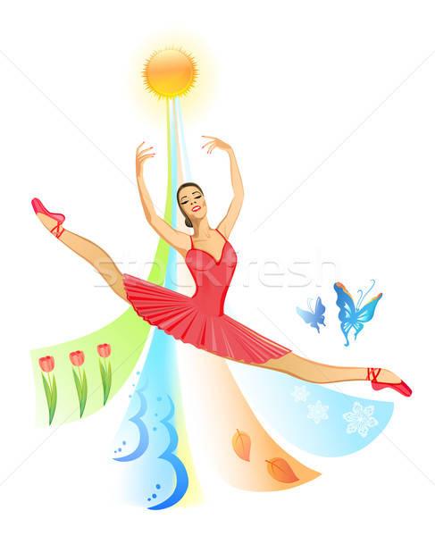 Baletnica kobieta charakter cztery pory roku rok wiosną Zdjęcia stock © arlatis