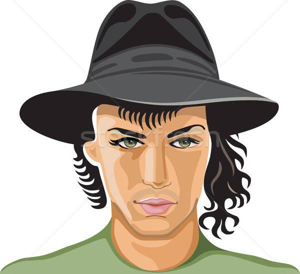 肖像 若い男 着用 帽子 孤立した 白 ストックフォト © arlatis