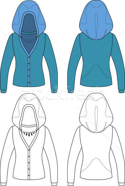 Sablon skicc illusztráció kapucnis nő kabát Stock fotó © arlatis