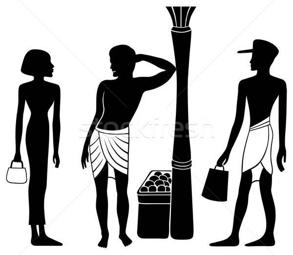Ancient Egyptian-Greek market meeting silhouette Stock photo © arlatis