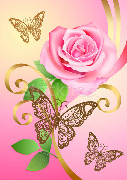 Valentine postcard with rose, butterflies and ribbons  Stock photo © arlatis
