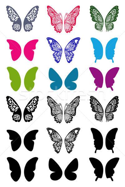 Vlinders vleugels ingesteld monochroom tattoo geïsoleerd Stockfoto © arlatis