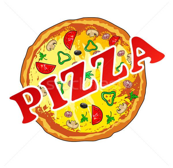 Pizza odizolowany restauracji Kafejka usługi gotowania Zdjęcia stock © arlatis