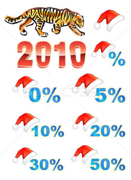 Weihnachten hat Tiger isoliert weiß Business Stock foto © arlatis