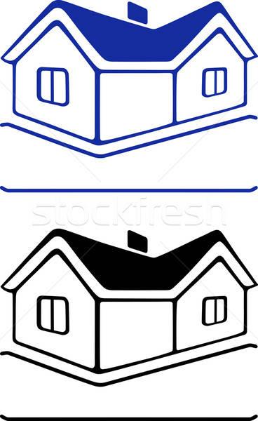 Ev imzalamak yalıtılmış beyaz ev siyah Stok fotoğraf © arlatis