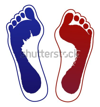 Old woman foot prints and outlines Stock photo © arlatis