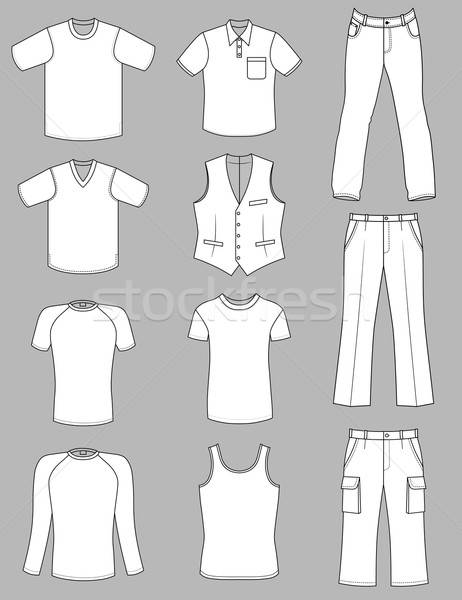 Man clothes grey-scale summer collection isolated on grey Stock photo © arlatis