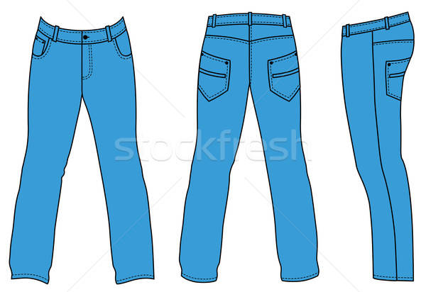 Blue man's jeans (front, back, side views)  Stock photo © arlatis