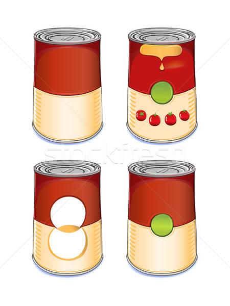 Szablon cyna puszka zupa pomidorowa odizolowany biały Zdjęcia stock © arlatis