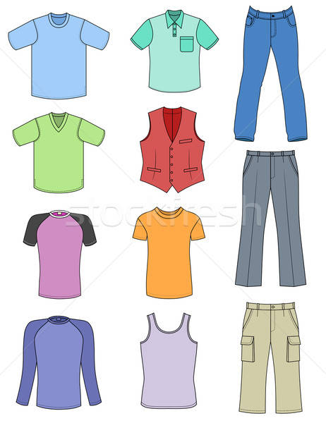 Man clothes colored summer collection isolated on white  Stock photo © arlatis