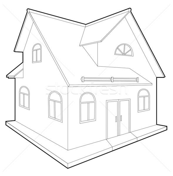 Domek odizolowany biały komputera projektu domu Zdjęcia stock © arlatis