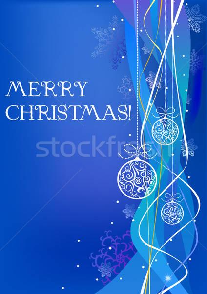 Christmas ontwerp sneeuw winter Blauw bal Stockfoto © arlatis