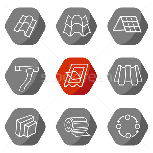Sale buildings materials (roof, facade) site icons set Stock photo © arlatis