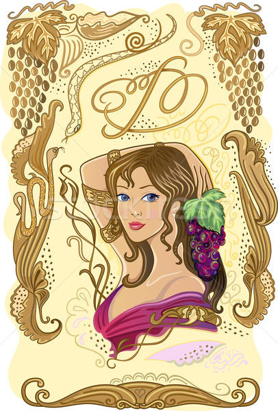Decorated wine label with grapes and girl  Stock photo © arlatis