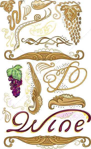 Dekoriert Set Wein Label Trauben isoliert Stock foto © arlatis
