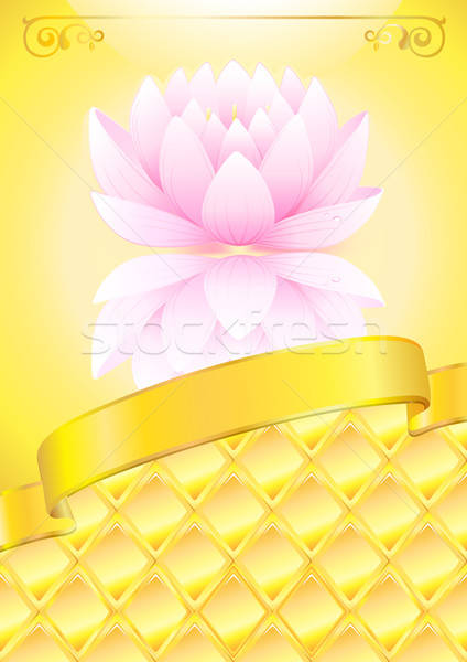 Golden background with pink lotos and bow Stock photo © arlatis