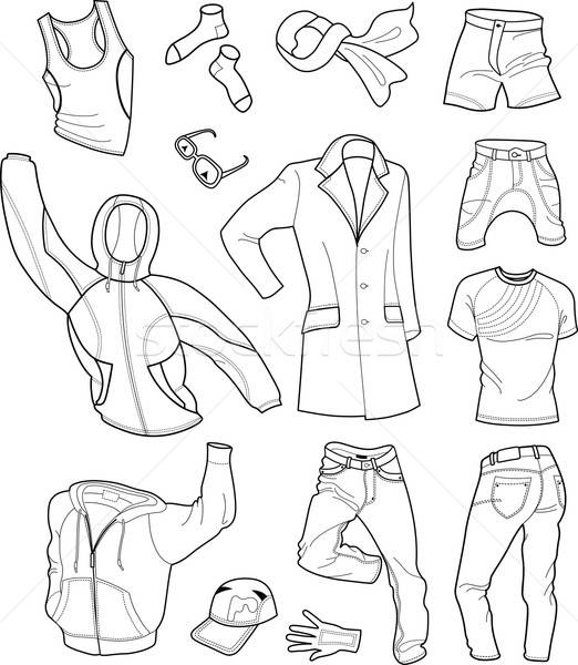 Man Clothes Colored Collection isolated on white background Stock photo © arlatis