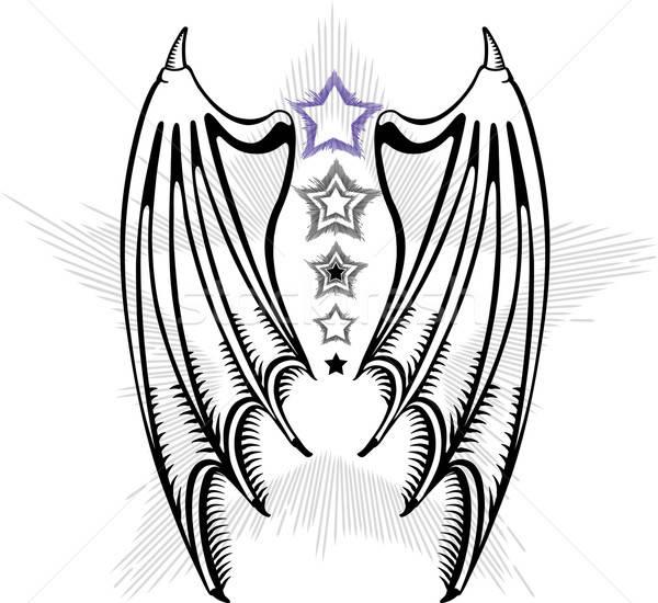 Vleugels geïsoleerd witte mode kunst donkere Stockfoto © arlatis