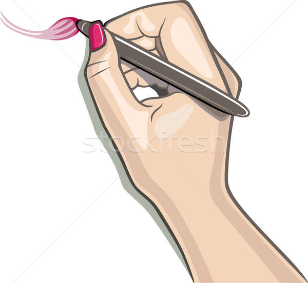 Kéz stylus ecset rajz nő lány Stock fotó © arlatis