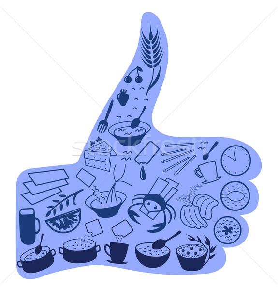 Food like social networks thumb up hand sign button Stock photo © arlatis