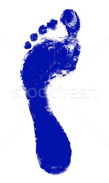 Ayak baskı yalıtılmış beyaz kadın siluet Stok fotoğraf © arlatis