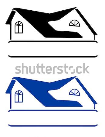 Ev imzalamak yalıtılmış beyaz siyah inşa etmek Stok fotoğraf © arlatis