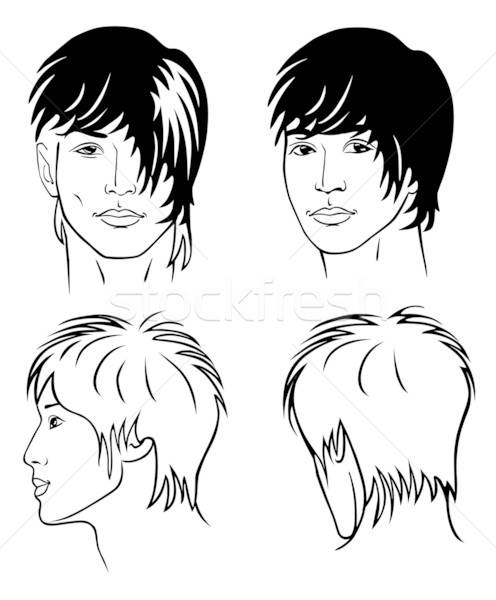 Portrait of the young man of the Mongoloid race (front, back, profile)  Stock photo © arlatis