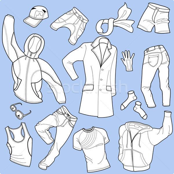 Bezszwowy człowiek ubrania kolekcja odizolowany biały Zdjęcia stock © arlatis