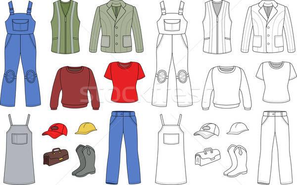 Worker, plumber man, woman fashion set Stock photo © arlatis