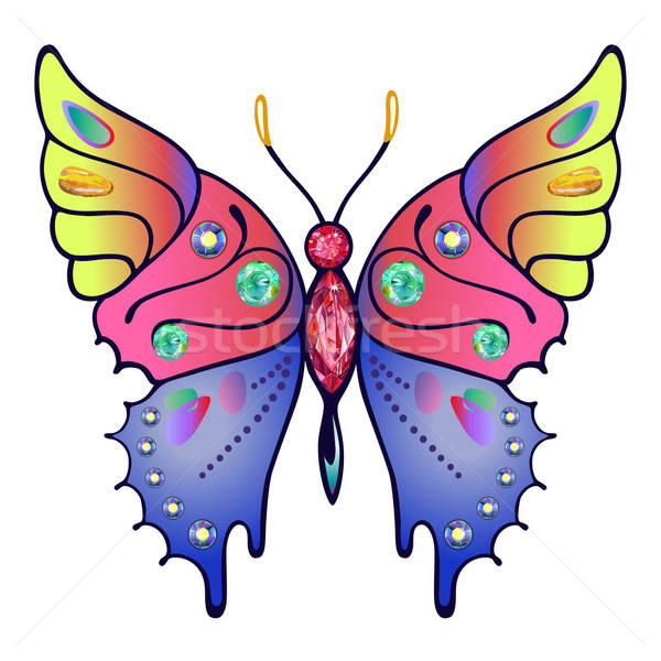Strass colored outlined butterfly Stock photo © arlatis