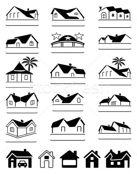 Budynków czarny znaki logo zestaw odizolowany Zdjęcia stock © arlatis