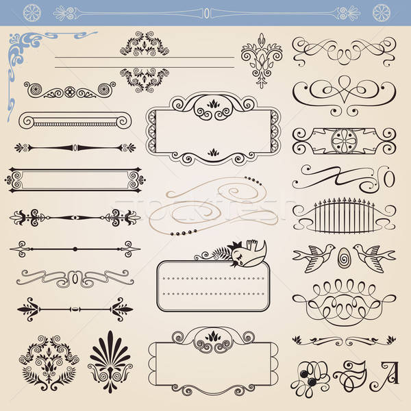 Vector calligraphic decoration elements set Stock photo © arlatis