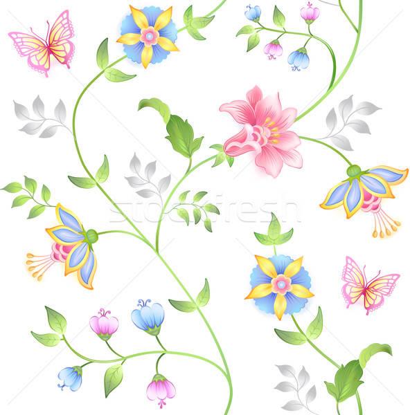 Kwiatowy elementy bezszwowy zestaw odizolowany Zdjęcia stock © arlatis