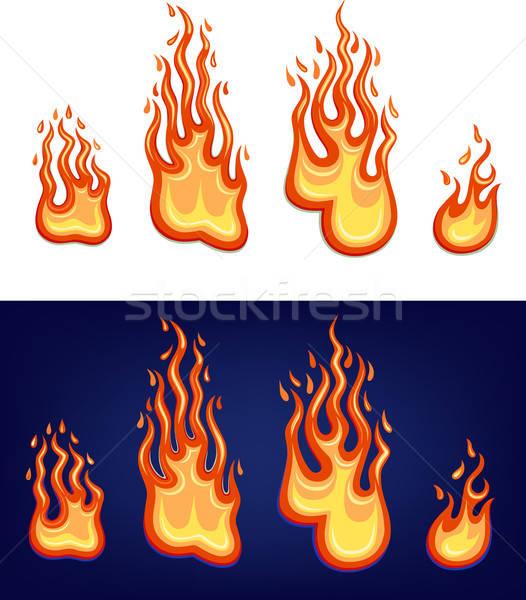 Gas rot Flamme Set isoliert weiß Stock foto © arlatis