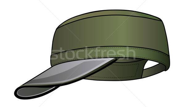 Militärischen cap isoliert weiß Frau Mann Stock foto © arlatis
