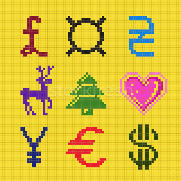 Cross embroidery pixel art currency christmas scheme Stock photo © arlatis