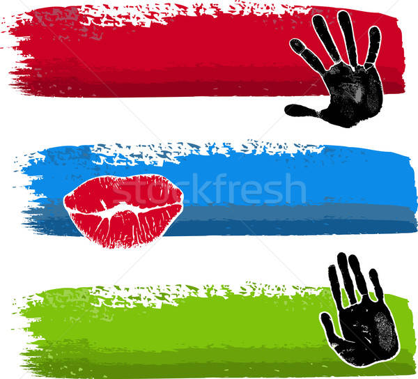 üç fırçalamak afişler el dudaklar ayak Stok fotoğraf © arlatis