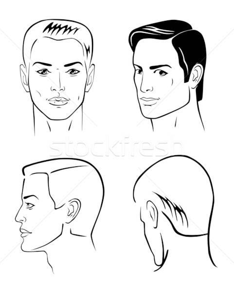Cztery człowiek twarze odizolowany biały Zdjęcia stock © arlatis