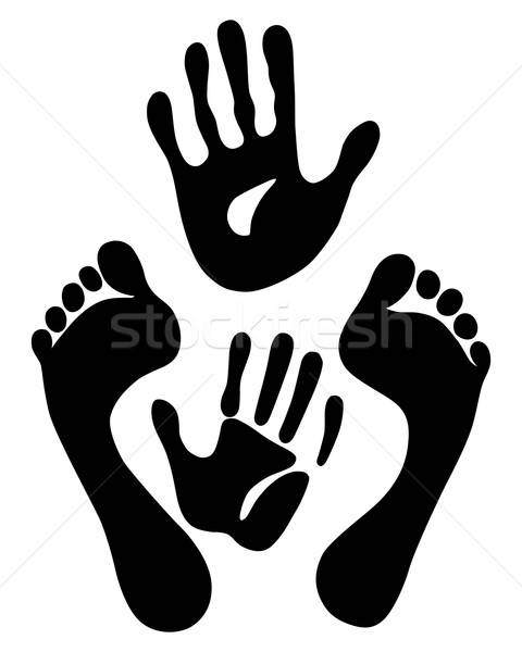 Old woman hand and foot prints Stock photo © arlatis