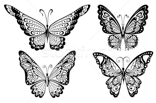 Artistik model kelebekler dövme soyut doğa Stok fotoğraf © arlatis