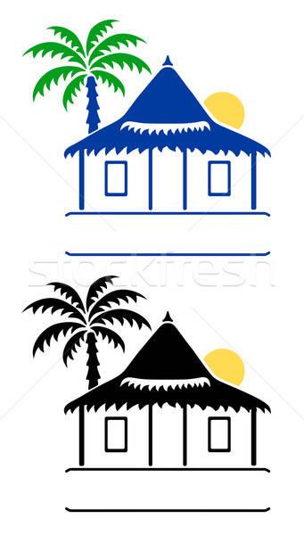 Bangalô sinais isolado branco praia água Foto stock © arlatis