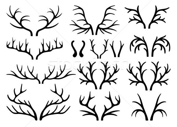 Deer antlers black silhouettes vector Stock photo © arlatis