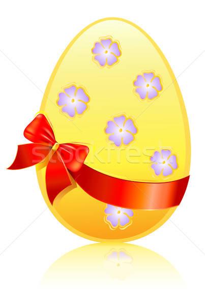 イースターエッグ お土産 弓 孤立した 白 卵 ストックフォト © arlatis