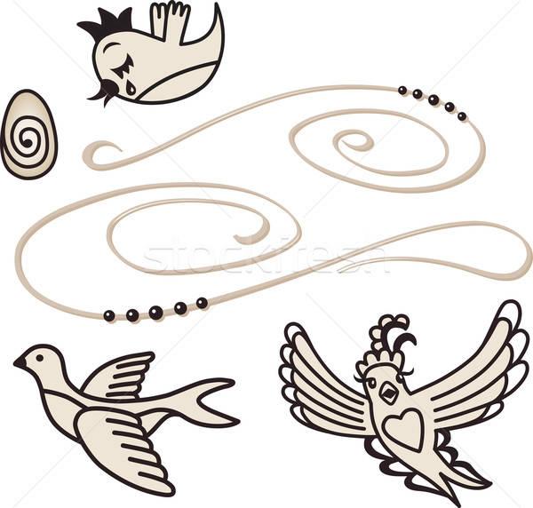 Chanter oiseaux isolé blanche Pâques amour Photo stock © arlatis