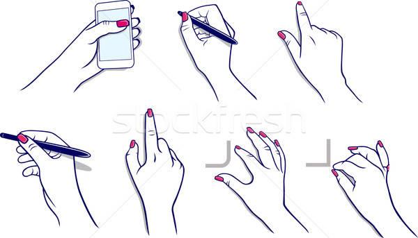 Ręce tabletka igła kobieta dziewczyna ciało Zdjęcia stock © arlatis