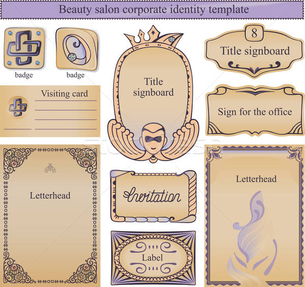 Corporate identity text template for a beauty salon Stock photo © arlatis